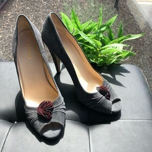 Prada grey suede pumps with flower bow detail